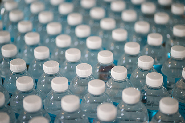 Plastic mineral water bottles