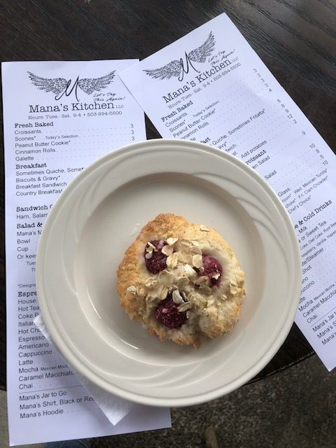 A scone served at Mana's Kitchen
